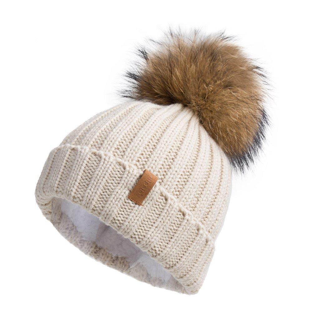 Pilipala Women Knit Winter Turn up Beanie Hat with Fur Pompom VC17604 Beige Gold Pompom