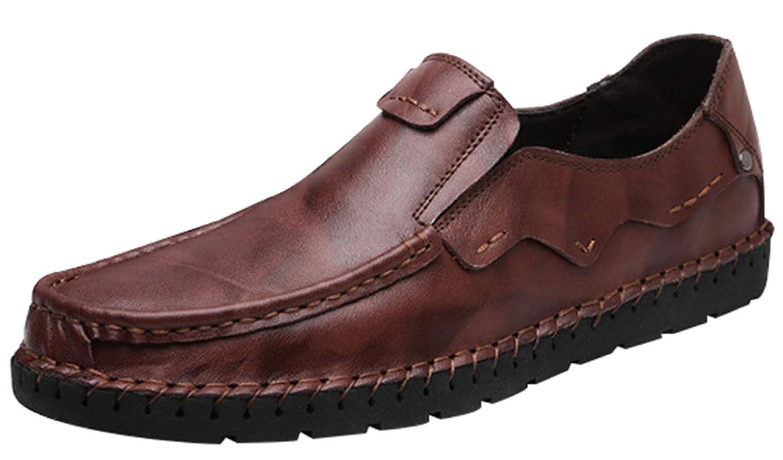 MYXUA Zapatos De Negocios Formales Para Hombres Zapatos Casuales Zapatos De Conducción Livianos Zapatos Perezosos 38EU|Darkbrown