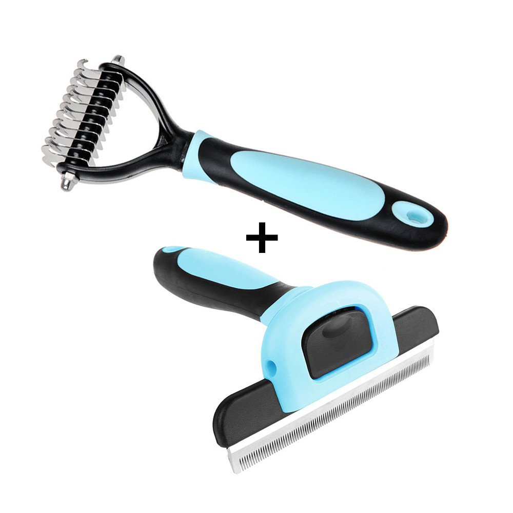 Petbob Grooming Brush,Pet Cosmetic Brush Set,Anti-Static Trimming Kit Deshedding Brush +Dematting Comb for Dogs and Cats Hair Fur Removal