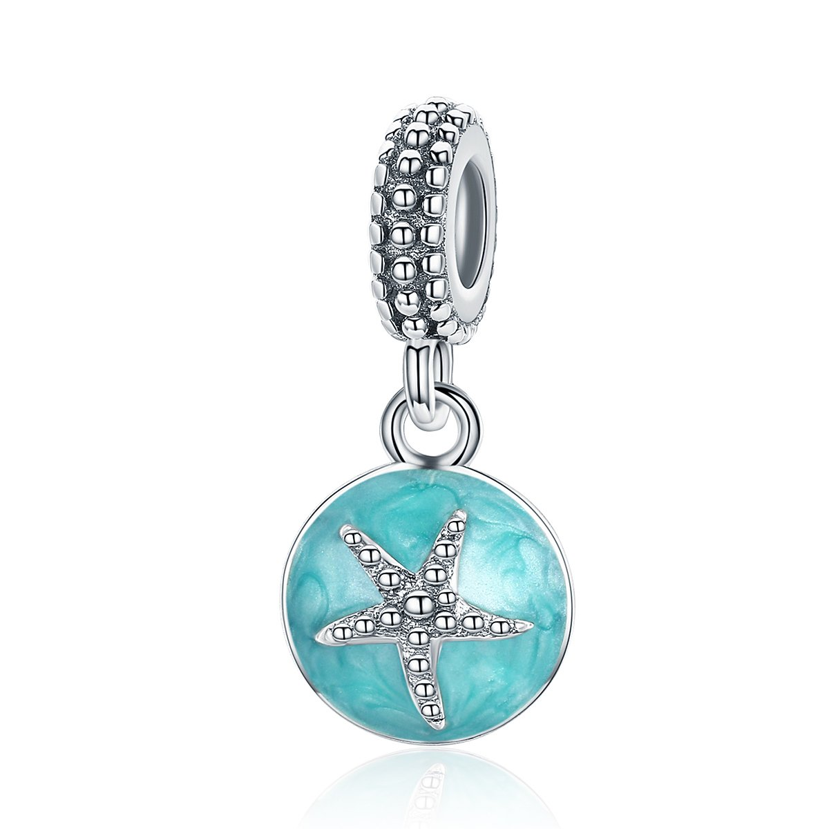 WOSTU Summer Charms Jewelry 925 Sterling Silver Starflish Dangle Charm for Charm Bracelets