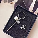 Hand-tailored fashion ring full of diamond earrings elegant snowflake earrings pearl earrings earrings asymmetric long fall