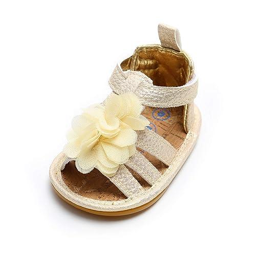 3d80efd8862de LACOFIA Baby Girls Summer Shoes Infant Anti-Slip Flower Sandals Gold 0-3  Months