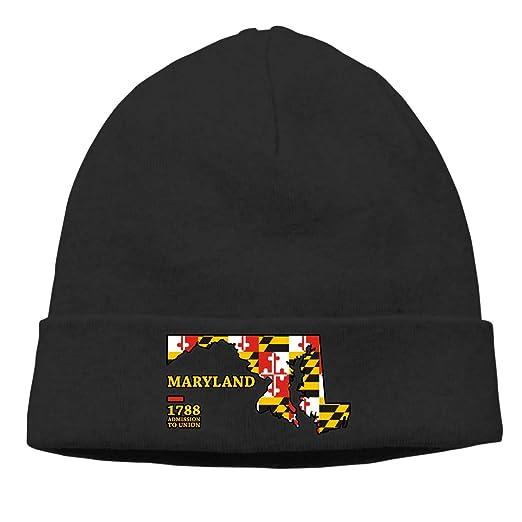 Flag of Maryland Beanie for Men Women Classic Winter Hats Toboggan Hat Warm  Hat 77f8d886564
