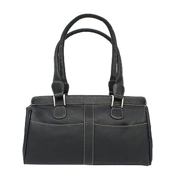 85a8e765c0 Piel Leather Double Handle Handbag, Black, One Size: Handbags: Amazon.com