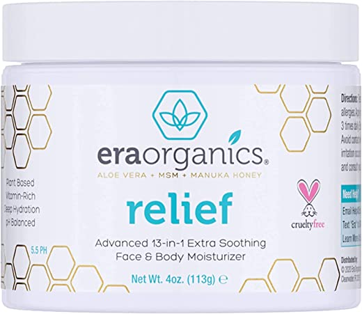 Natural Cream for Eczema, Psoriasis & Dermatitis - Advanced Healing 15-in-1 Non-Greasy Moisturizer with Aloe Vera, Manuka Honey & More. Natural Eczema Cream for Dry Itchy Skin Care 4oz Era-Organics