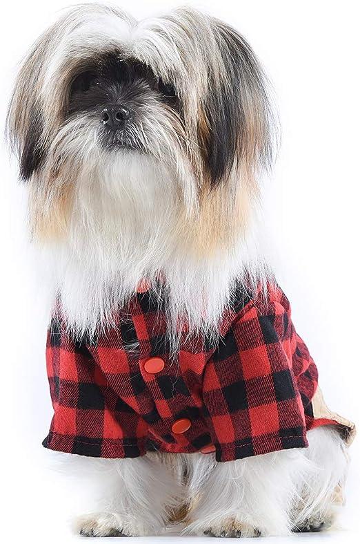 OSPet Perro algodón Camisa de Cuadros Cachorro Mono Mono Traje para Perros pequeños: Amazon.es: Productos para mascotas