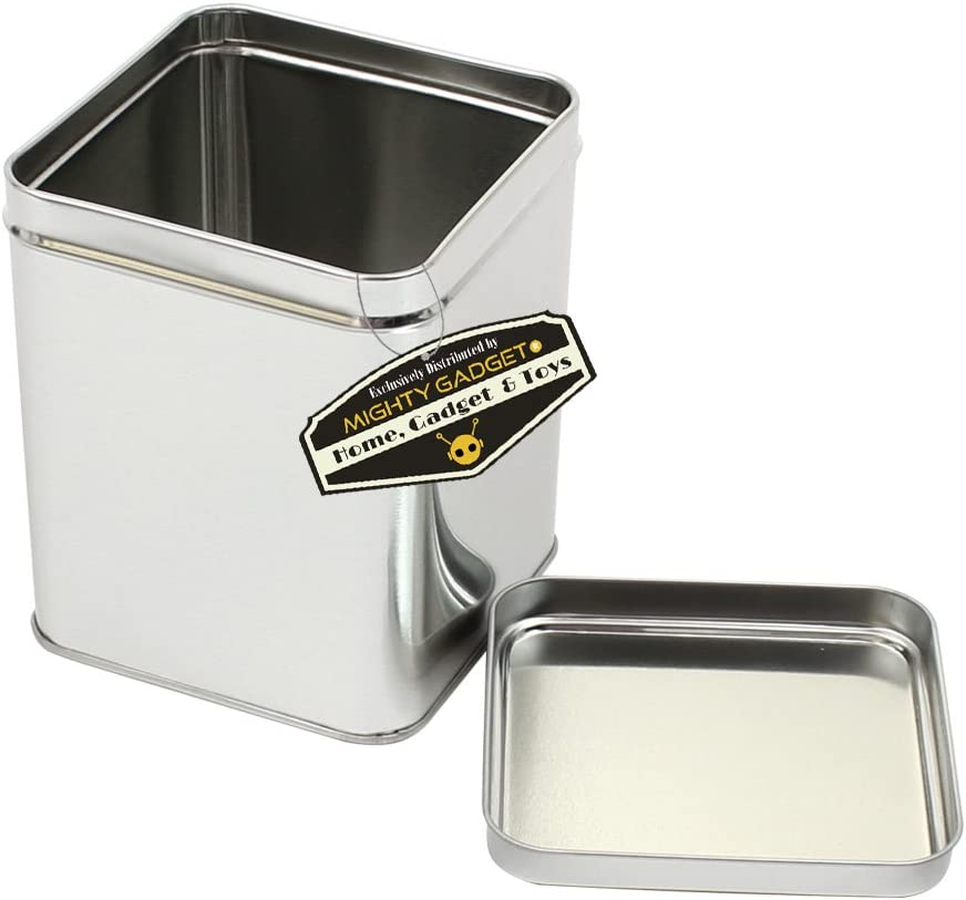 - 3.75 x 3.75 x 0.4375 R 6 Pack Square Empty Hinged Lid Survival Tin Container for Geocaching or Survival Gear Mighty Gadget