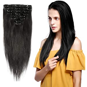 Amazon Com 20inch 7pcs Straight Remy Clip In Real Human Hair