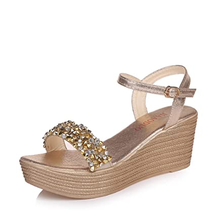 54f6ac405caa9 Amazon.com : YJYdadaS Women Ladies Fashion Crystal Wedges Buckle ...
