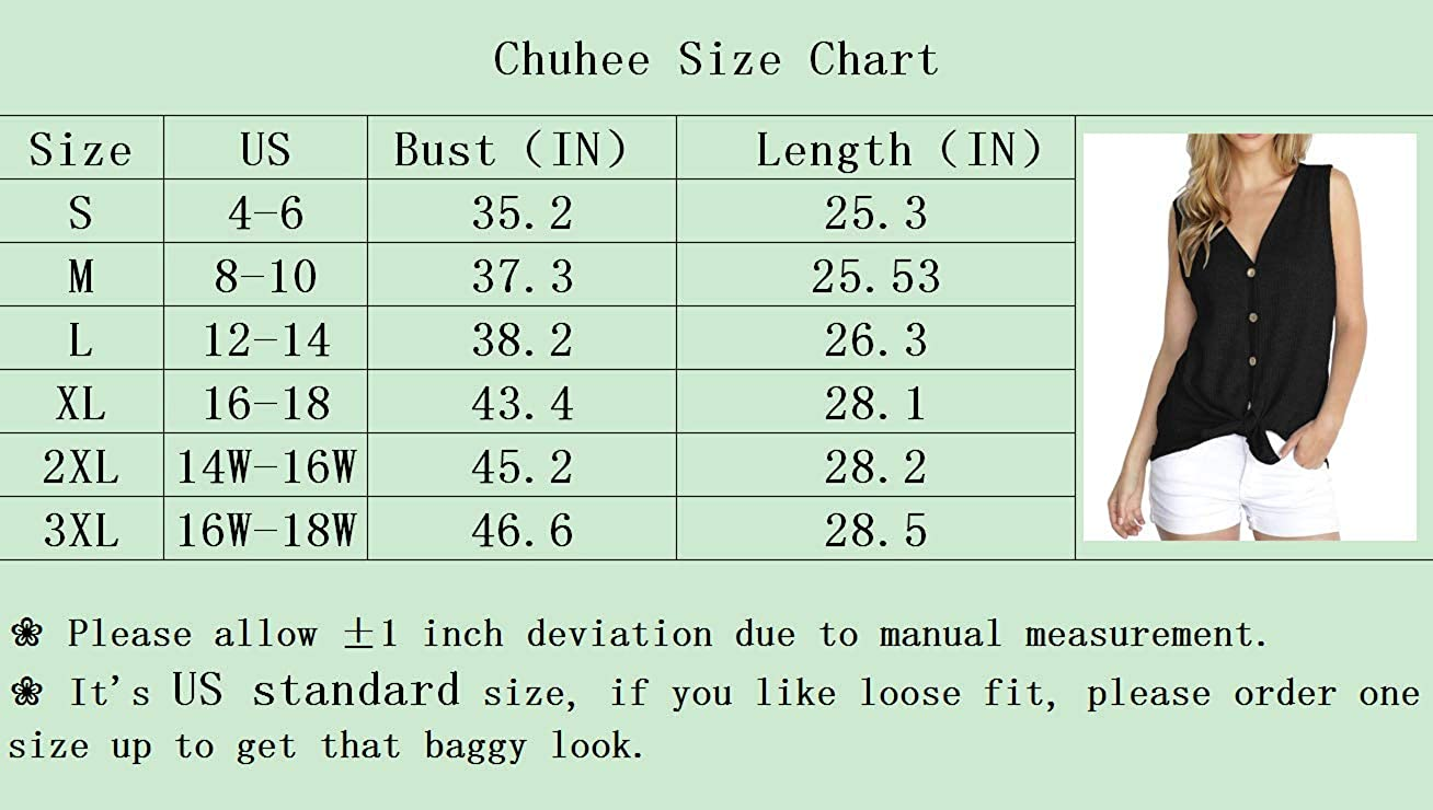 Chuhee Womens Sleeveless Button Down Tunic Blouse Shirts Loose Fitting Tie Knot Tank Tops