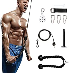 I IHAYNER Fitness LAT and Lift Pulley System,Wrist Roller Trainer Shoulder-Home Gym Equipment Beginner Workout Equipment for Pulldowns, Biceps Curl, Triceps Extensions