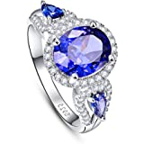 BONLAVIE Women's 4.2ct Oval Cut Created Tanzanite Anniversary Engagement Ring 925 Sterling Silver