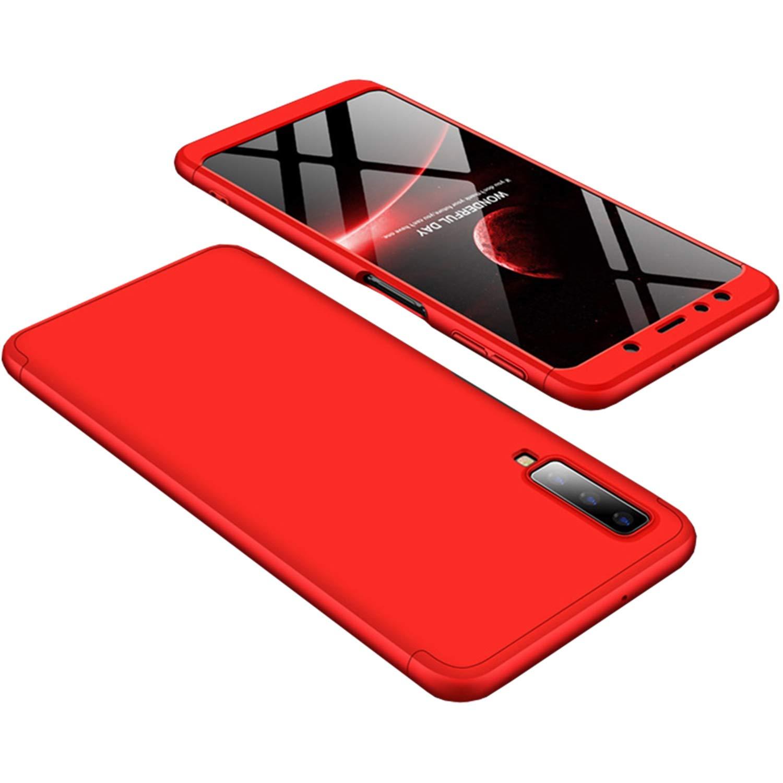 Coque Samsung Galaxy A7 (2018), Hishiny Ultra Fine 3 en 1 Détachable Anti-Rayures Dur PC Housse, 360° Entire Corps Antichoc Protection Etui pour Samsung Galaxy A7 (2018) Coque Housse (Noir + Rouge)