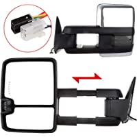 LSAILON Towing Mirrors Fit for 2017-2019 Ford F250 F350 F450 Super Duty Tow Mirrors with LH Side and RH Side Power Heated Turn Signal Auxiliary Parallel Auxiliary Light Temperature Sensor
