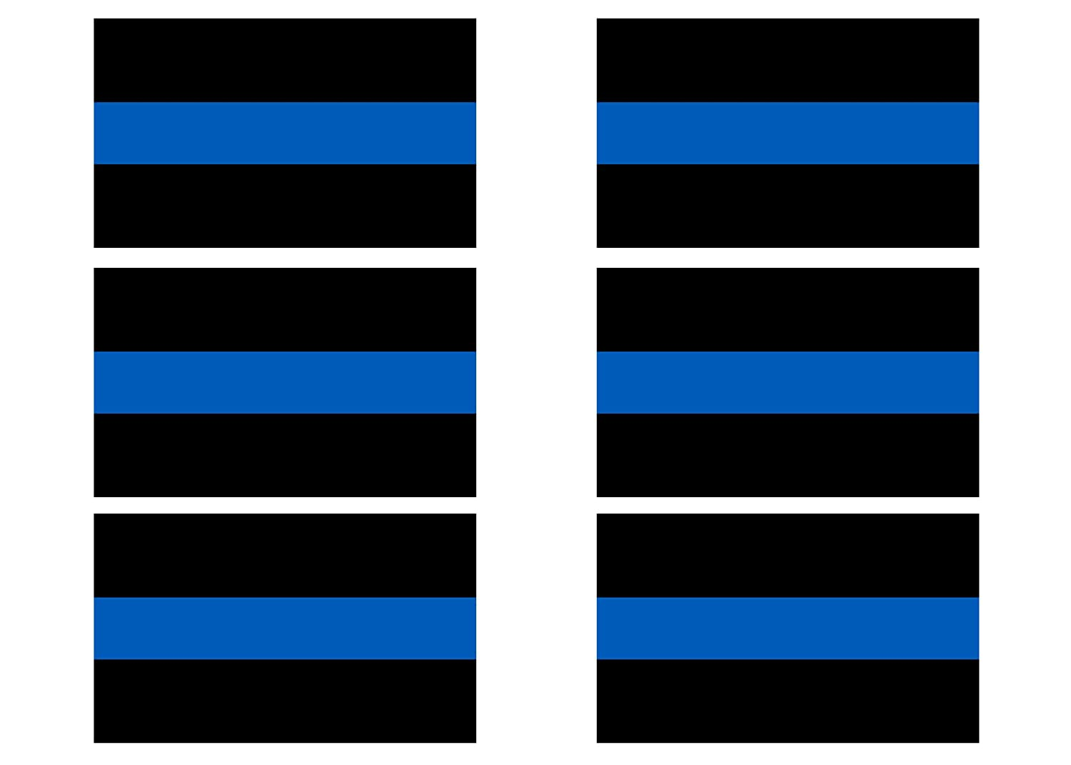 Thin Blue Line Blue Lives Matter Sticker Vinyl Decal Support of Police and Law Enforcement Officers 6 Pack