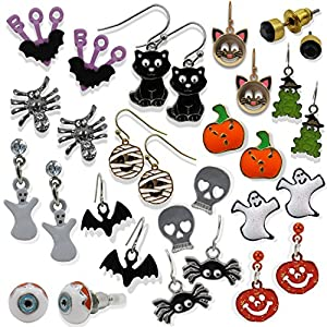 Spooky Fun Unisex Halloween Earrings Bundle for Pierced Ears (15 Pairs)
