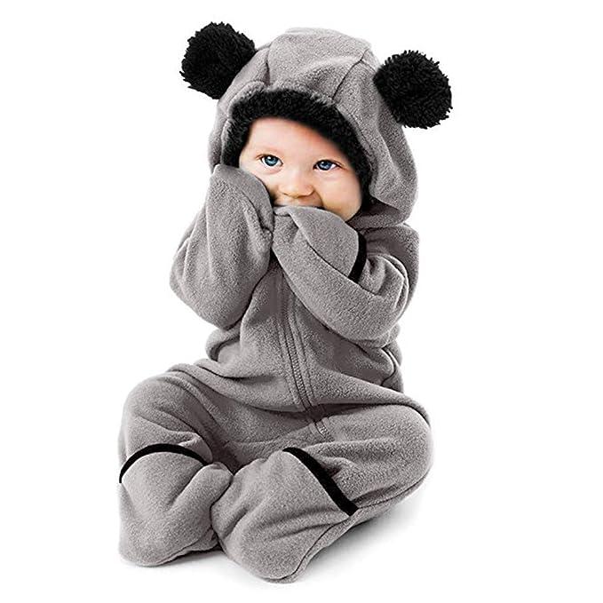a0946bb11 Recién Nacido Niñas bebés niños Orejas de Dibujos Animados Sudaderas con  Capucha Mamelucos Monos Pijama De Invierno de Cremallera Disfraz para Bebés   ...