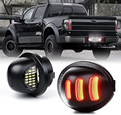 RUXIFEY LED License Plate Light with Socket Wiring Harness Plugs Compatible with Ford F150 F250 F350 F450 F550 Superduty Ranger Explorer Bronco Excursion Expedition 6500K White