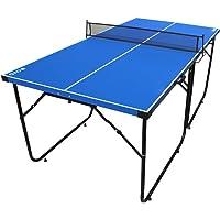 Mesa de ping-pong de IFOYO de 1,8 m, 4 piezas plegables, portátil, para uso en interiores y exteriores, para adulto y niños en color azul