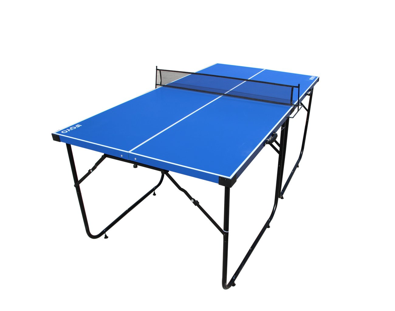 Table Tennis Table, IFOYO 6ft Midsize Ping Pong Table 4-Piece Folding Portable Indoor Outdoor Tennis Table with Net Set for Adults, Kids, No Assembly Needed, Blue