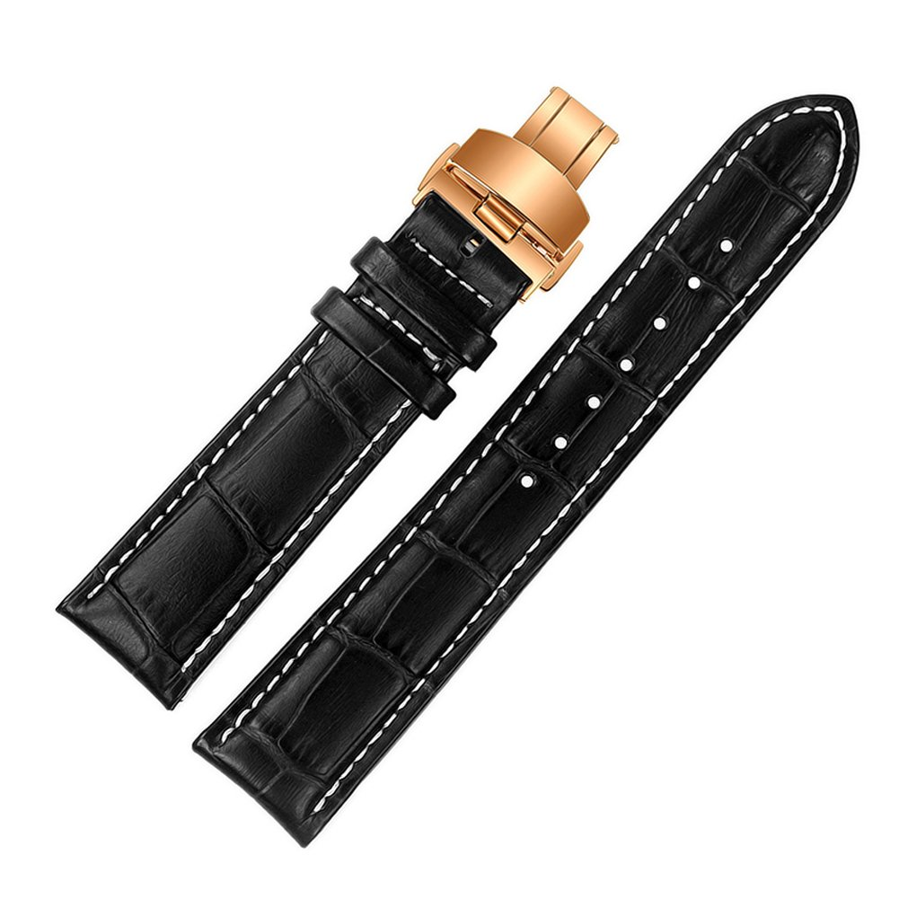 ViuiDueTure (18mm-24mm) Black White line Luxury Business Classic Calfskin Leather Strap Replacement Watch Band Rose gold Deployment Buckle (20mm)