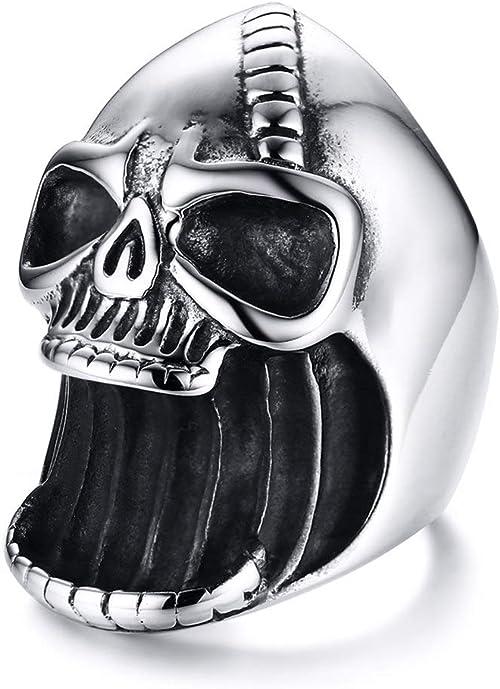 Heavy Gothic Skull Biker Stainless Steel Men/'s Ring Punk Halloween Gift