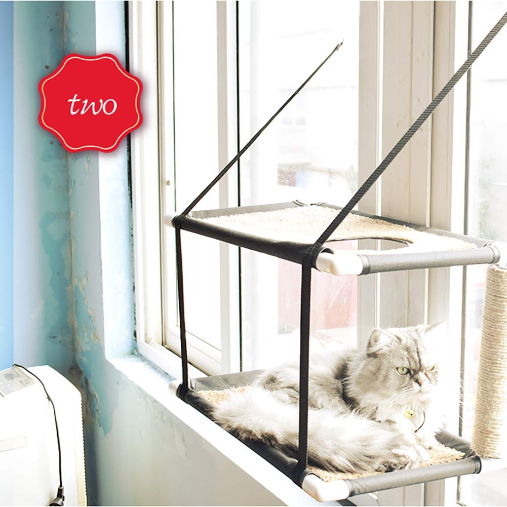 B DJLOOKK Cat Window Perch Large Kitties Sunny Bed Up to 55lb Stable Metal Frame Soft Mats Cat Face Hammock Perfect with a Warming Bed