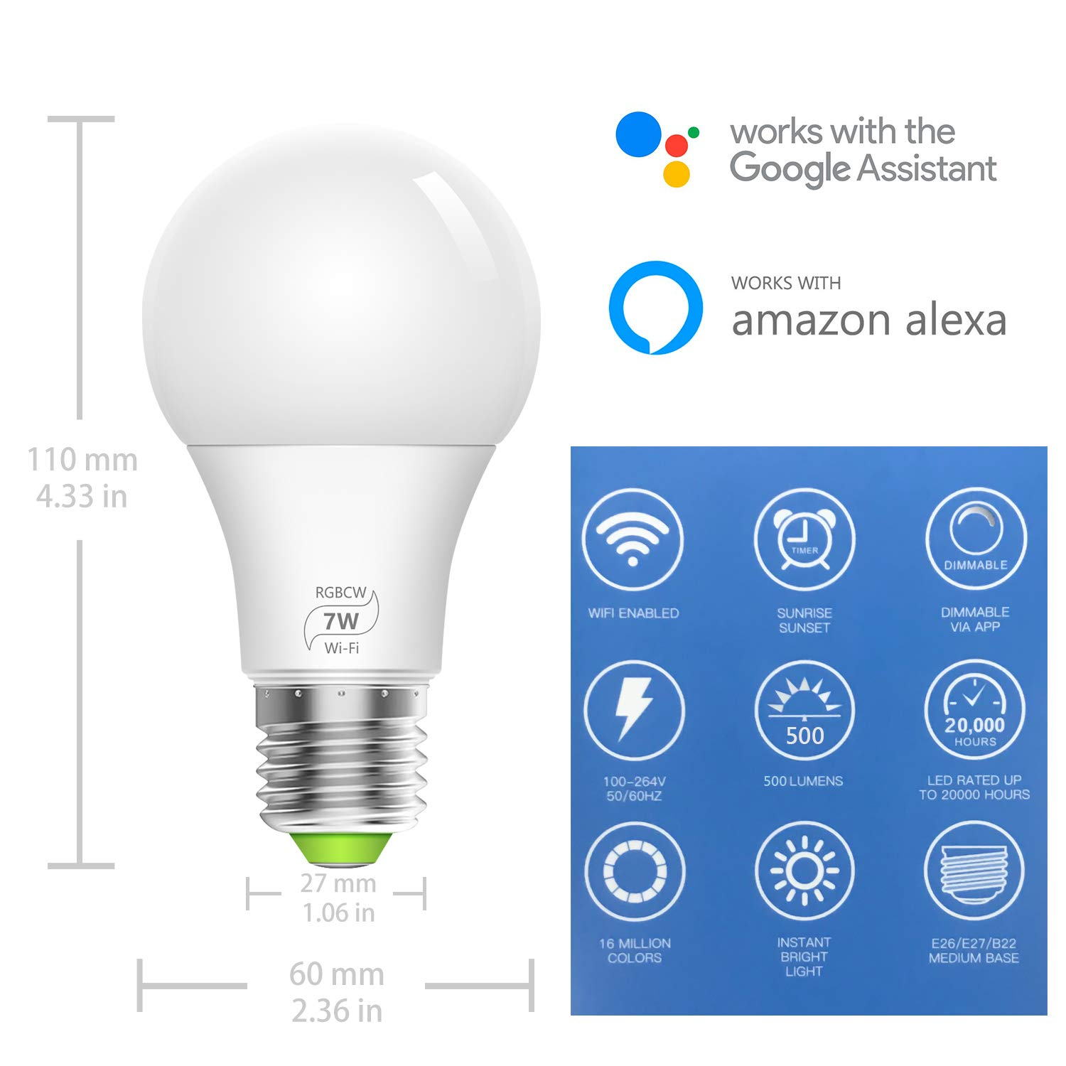 WiFi Dimmable Smart Light Bulb- Bistee Smart WiFi Bulb E26 7W RGBW Dimmable Smart Color Light Bulb with Remote Control 500 lm Compatible with Alexa Google Home,No Hub Required, 2 Pack LED Bulbs