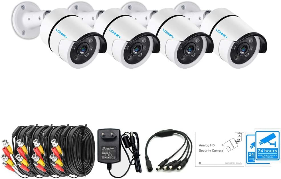 LONNKY 4 Pack 1080P TVI Analog Outdoor Bullet Waterproof Security Camera System Including Power Supply, Splitter Cable and Extension Cable , 3.6mm Lens 80ft Night Vision HD CCTV Camera
