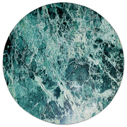 Marble Round Stone Top (Round Area Rug Mat Rug,Marble,Stone Surface Fractures Facet Pattern Gem Formation Geology Artful Illustration,Jade Green Mint,Home Decor Mat with Non Slip Backing)