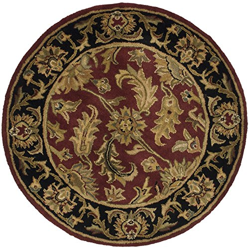 Safavieh Heritage Collection HG628C Handcrafted Traditional Oriental Red and Black Wool Round Area Rug (4' (Burgundy Round Rug)