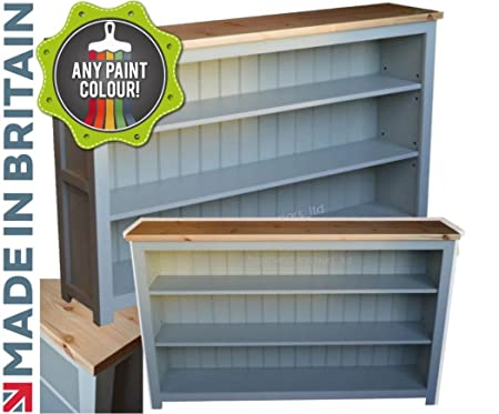 Heartland Pine 100% Solid Wood Low Bookcase, Bordeaux F&B Painted ...