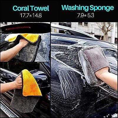 Mofeez 9pcs Car Cleaning Tools Kit with Blow Box Car Tire Brush Wash Mitt Sponge Wax Applicator Microfiber Cloths Window Water Blade Brush: Automotive