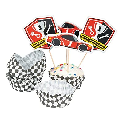 RACE CAR BIRTHDAY CUPCAKE WRAP W PICK - Party Supplies - 100 Pieces: Toys & Games