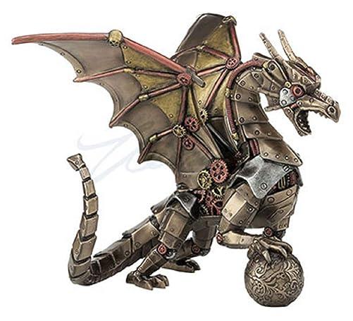 Steampunk Mechanical Gear Dragon Sitting Holding Sphere Statue Sculpture Bronze