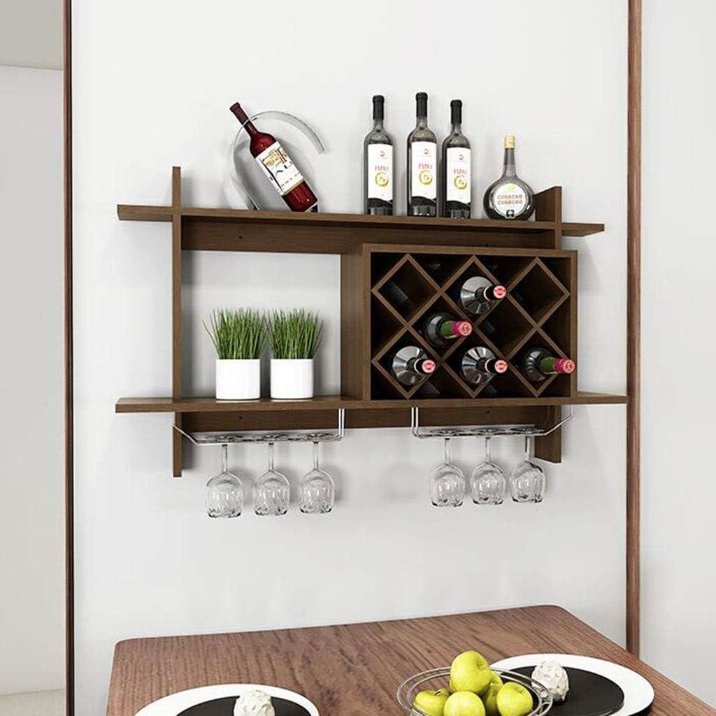 GJ Simple European Wall Hanging Wine Rack Wine Cabinet Hanging Lattice Rack Wine Rack Creative Wall Rack Wine Grid Storage Rack Color : Brown, Size : 8058.520CM