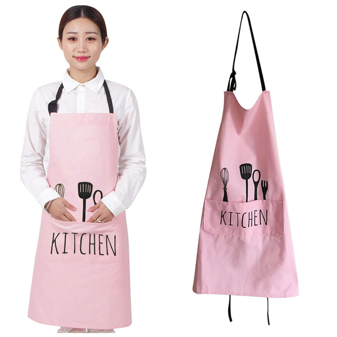 YFLY Cotton Cooking Kitchen Aprons Restaurant Apron for Women Men Chef,Waterproof Kitchen Apron with Big Pockets Adjustable Bib for Cooking, Crafting, Gardening Restaurant