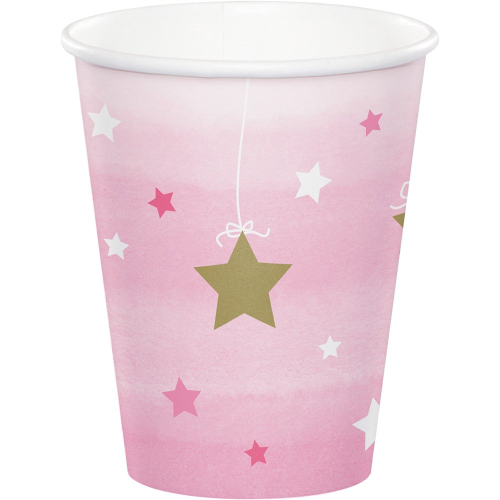 CDM product Creative Converting 322254 96Count 9 oz Hot/Cold Paper Cups, One Little Star- Girl, One Little Star - Girl big image