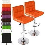 Miadomodo Faux Home Leather Kitchen Bar Stool Chair Adjust. Height 2pc Set Choice of Colour(Orange)