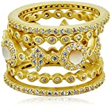 Freida Rothman Mother-Of-Pearl Dot Eternity Station Set of Five Stackable Ring