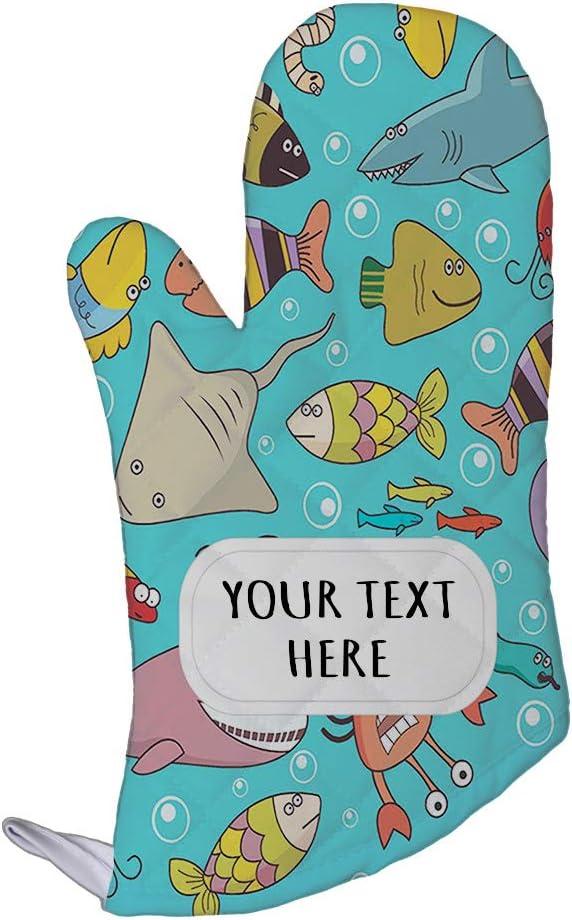 Style In Print Polyester Oven Mitt Custom Underwater Wildlife Fish Pattern Adults Kitchen Mittens