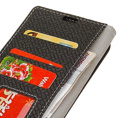 YHUISEN Patrón de armadura de tapa magnética PU de cuero de la cartera Flip Folio caso con soporte / ranura para tarjeta cubierta protectora de la caja para Samsung Galaxy J1 Mini ( Color : Black ) Black