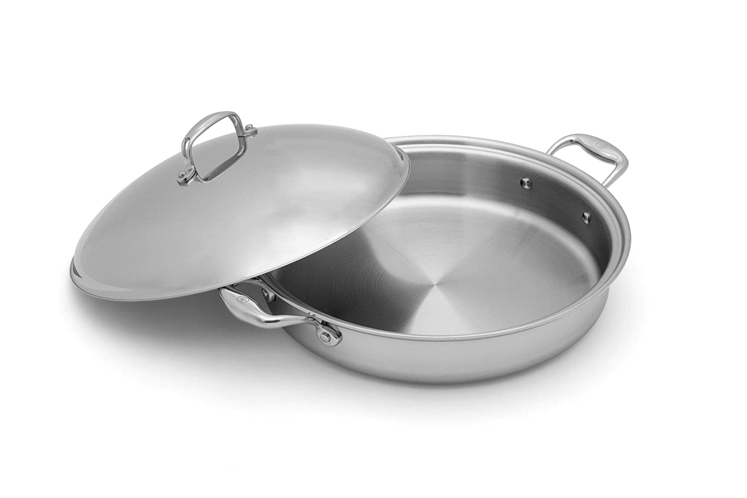 Heritage Steel 5 Quart Sauteuse Pan with Lid – Titanium Strengthened 316Ti Stainless Steel with 7-Ply Construction – Induction-Ready and Dishwasher-Safe, Made in USA