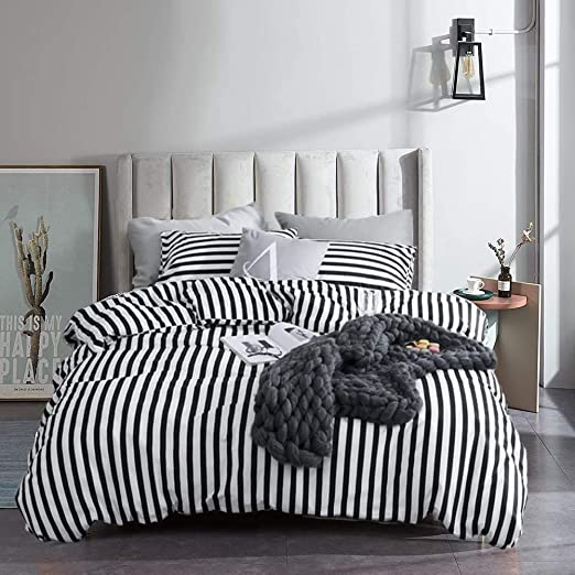 Amazon.com: Cottonight Black and White Duvet Cover Queen Striped