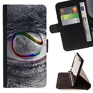 BullDog Case - FOR/Samsung Galaxy S5 Mini, SM-G800 / - / Sci Fi Eye /- Monedero de cuero de la PU Llevar cubierta de la caja con el ID Credit Card Slots Flip funda de cuer