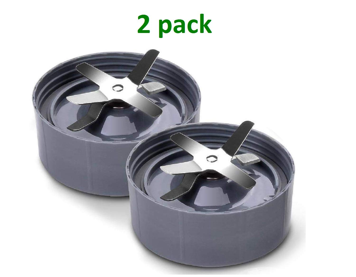 Fits Nutribullet 600W//900W Models Pack of 2, Grey NutriBullet Replacement 6fin Extractor Blade Premium Replacement Parts /& Accessories