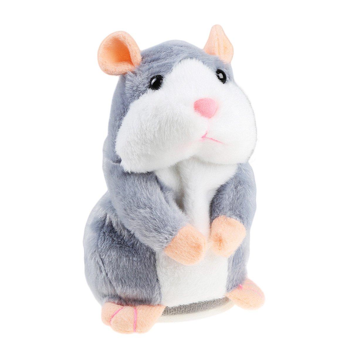Talking Hamster, IDEAPRO Ripeti Quello che Dici Elettronico Peluche Giocattoli Regalo di Natale per Bambini Kids (Grigio)