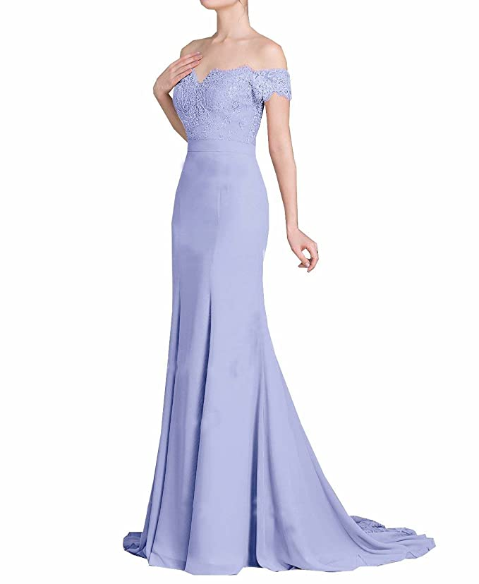 Venus Bridal Damen Meerjungfrau Spitze Partykleid Einfache Trompete Abendkleid Spitze Abendkleid