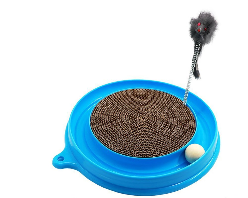 bluee HYBINE Cat Turbo Scratcher Pads Toy, Cat Turbo Toy, Post Pad Interactive Training Exercise Mouse Play Toy with Turbo and Ball (bluee)