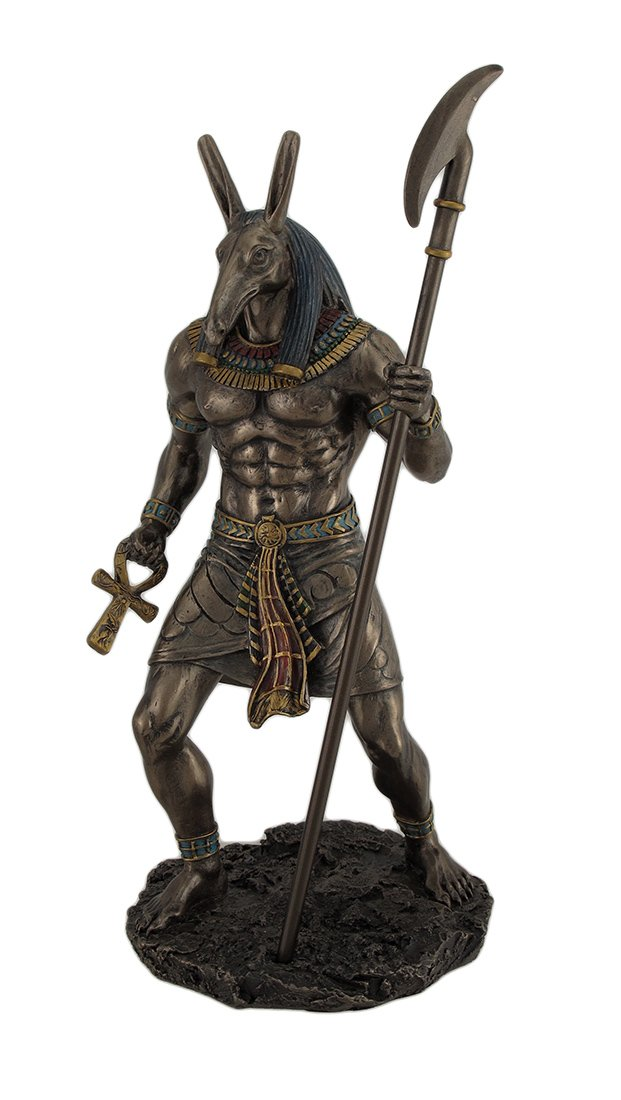 Resin Statues Ancient Egyptian Jackal God Anubis Bronze Finished Statue 5 X 10 X 4.5 Inches Bronze